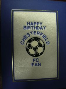 PERSONALISED EMBROIDERED CHESTERFIELD FC CARD - FOOTBALL